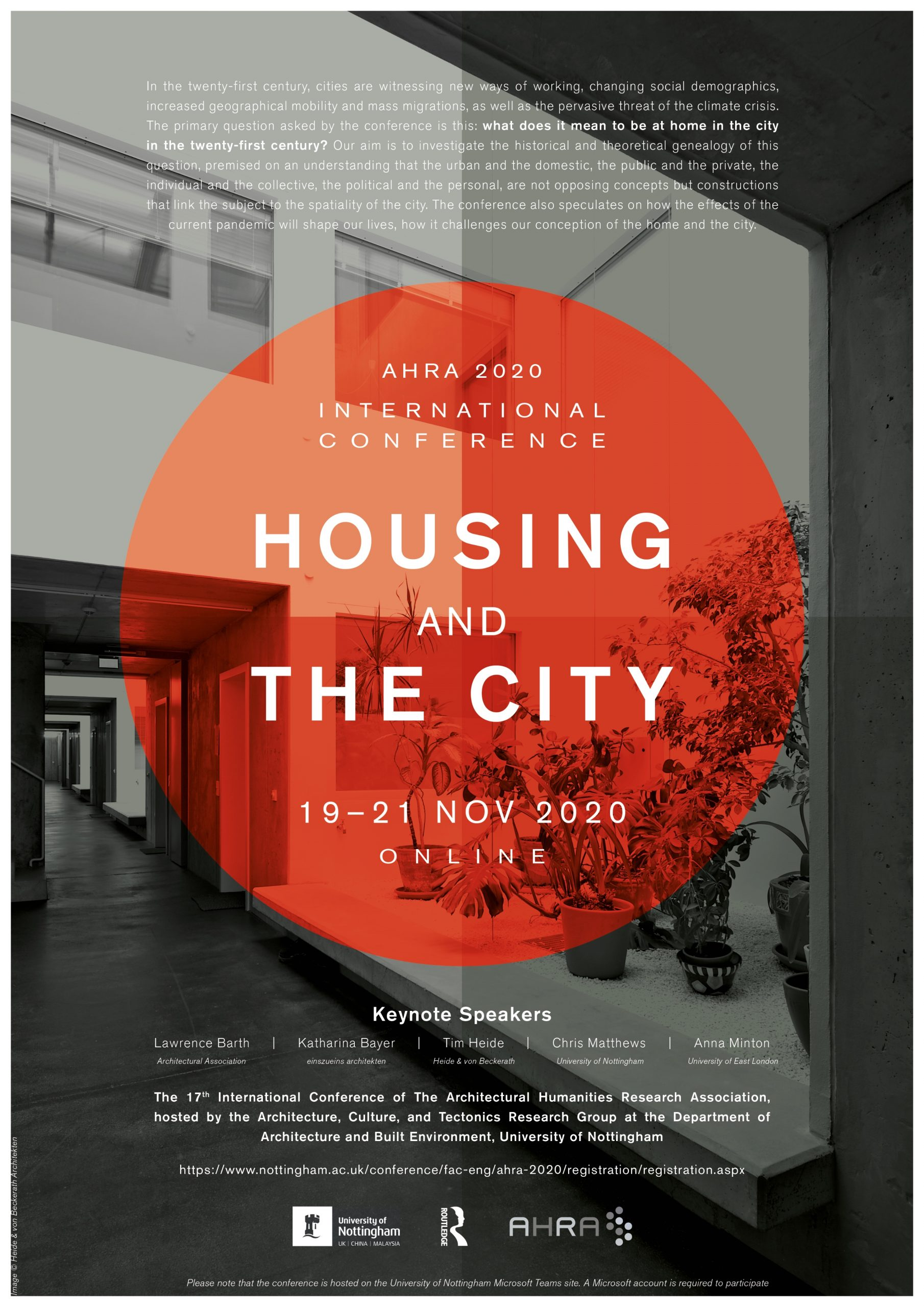 "NEW CONFERENCE: 17th AHRA Conference, ""Housing and the City"", November 19-21, 2020"